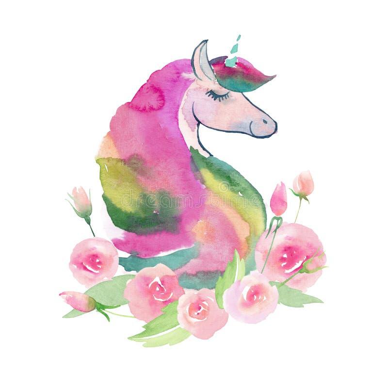 独角兽的明亮的可爱的逗人喜爱的神仙的不可思议的五颜六色的样式与春天淡色逗人喜爱的美丽的花水彩的 免版税库存照片