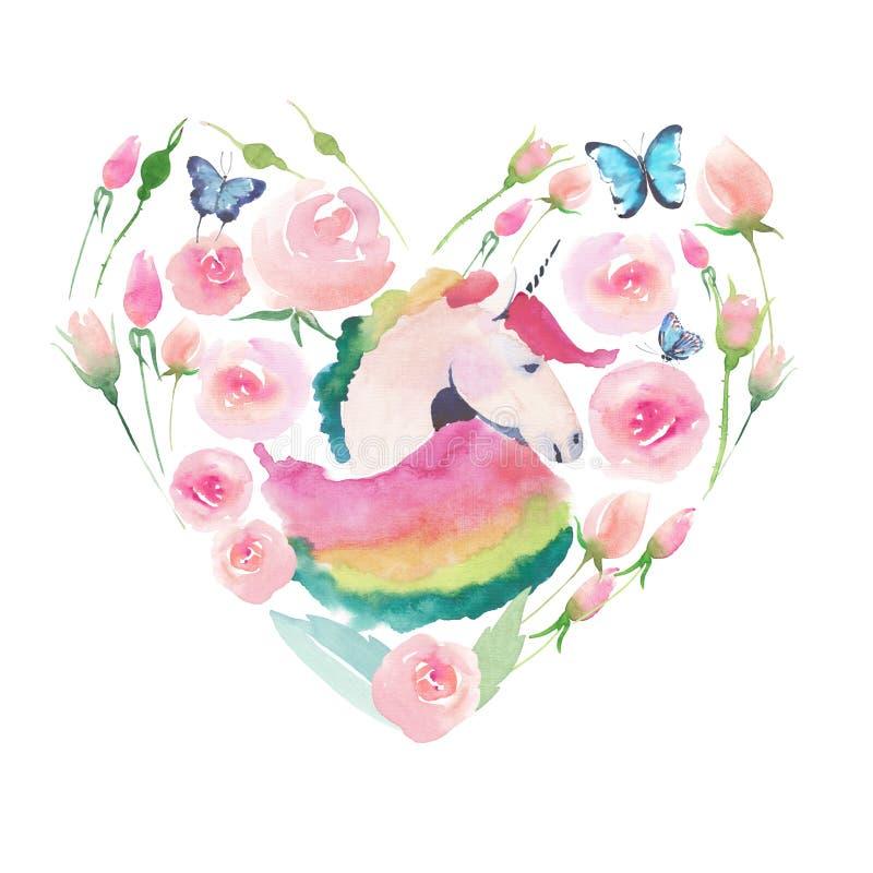 独角兽的明亮的可爱的逗人喜爱的神仙的不可思议的五颜六色的心脏与春天淡色逗人喜爱的美丽的花的 库存例证