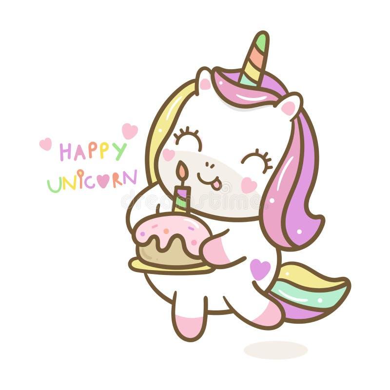 独角兽逗人喜爱为生日快乐生日聚会淡色拿着甜点心的kawaii小马 向量例证