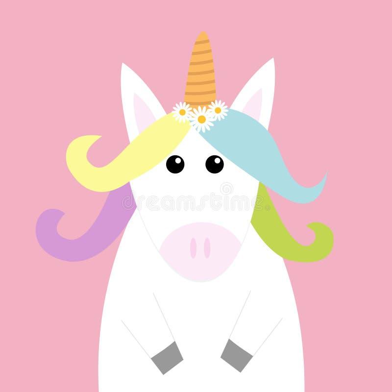 独角兽顶头面孔 淡色彩虹头发,戴西春黄菊花集合 平的位置设计 逗人喜爱的动画片kawaii婴孩characte 库存例证