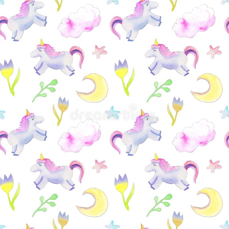 独角兽,月亮,花纹花样 向量例证