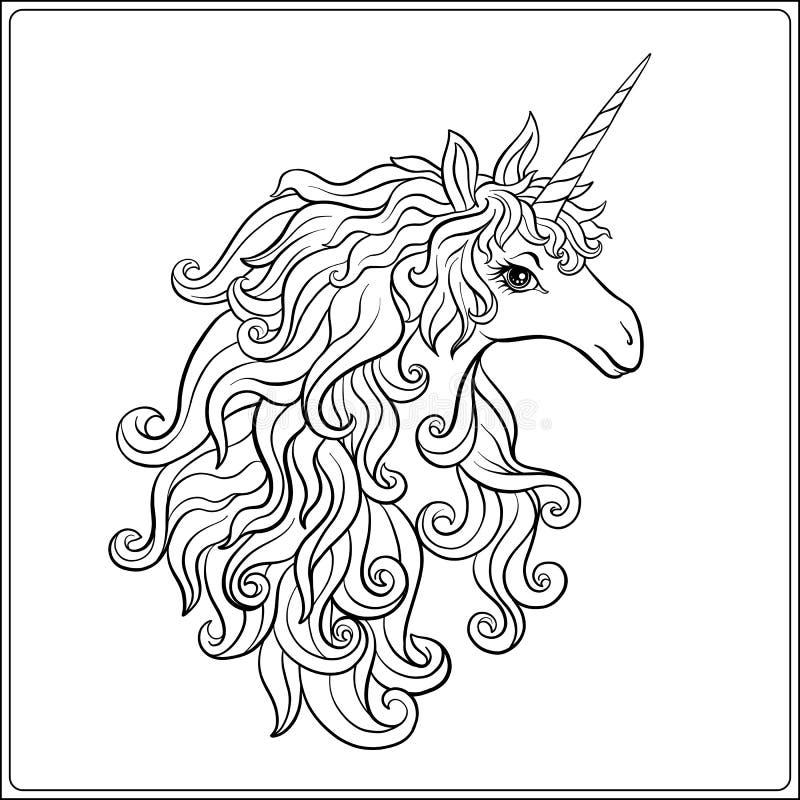 独角兽 外形图着色页 成人的彩图 库存例证