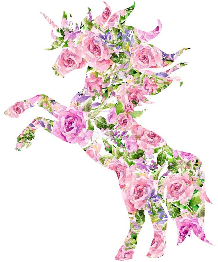 独角兽 T恤杉图表 罗斯花水彩 向量例证