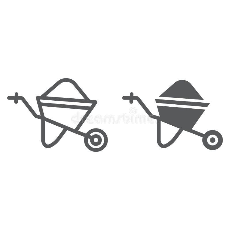 独轮车线和纵的沟纹象、台车和工具,推车标志,向量图形,在白色背景的一个线性样式 库存例证