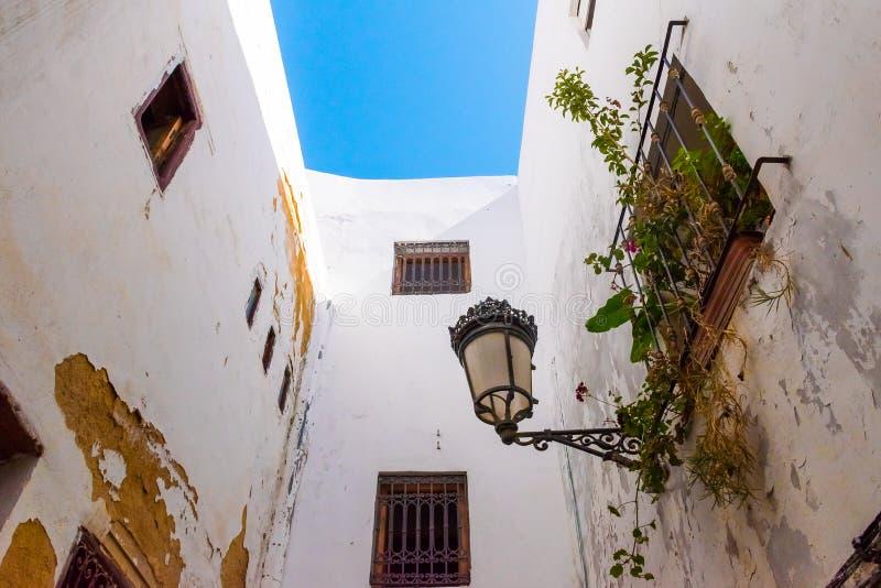 狭窄的中世纪街道在得土安市的白色麦地那,摩洛哥,非洲 免版税图库摄影