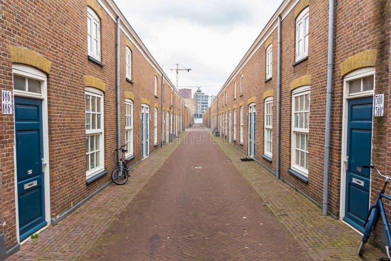 狭窄的房子在海牙Schilderswijk区  免版税图库摄影