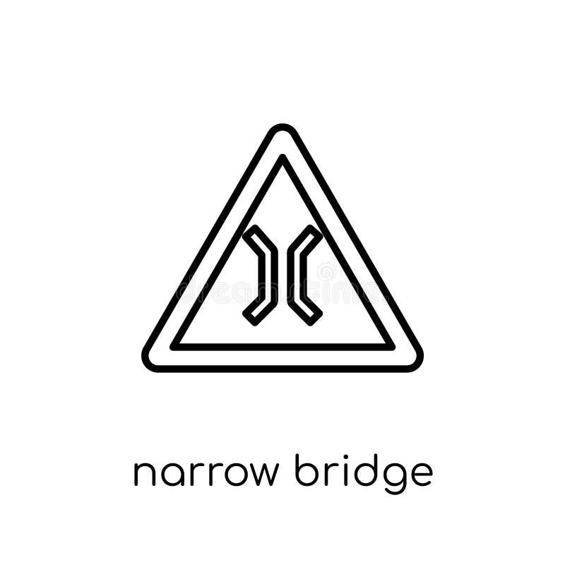 狭窄的桥梁标志象 时髦现代平的线性传染媒介狭窄 皇族释放例证
