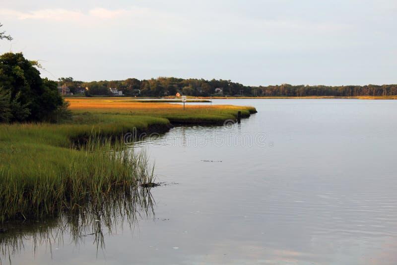 狭窄的河Narragansett RI 免版税库存图片