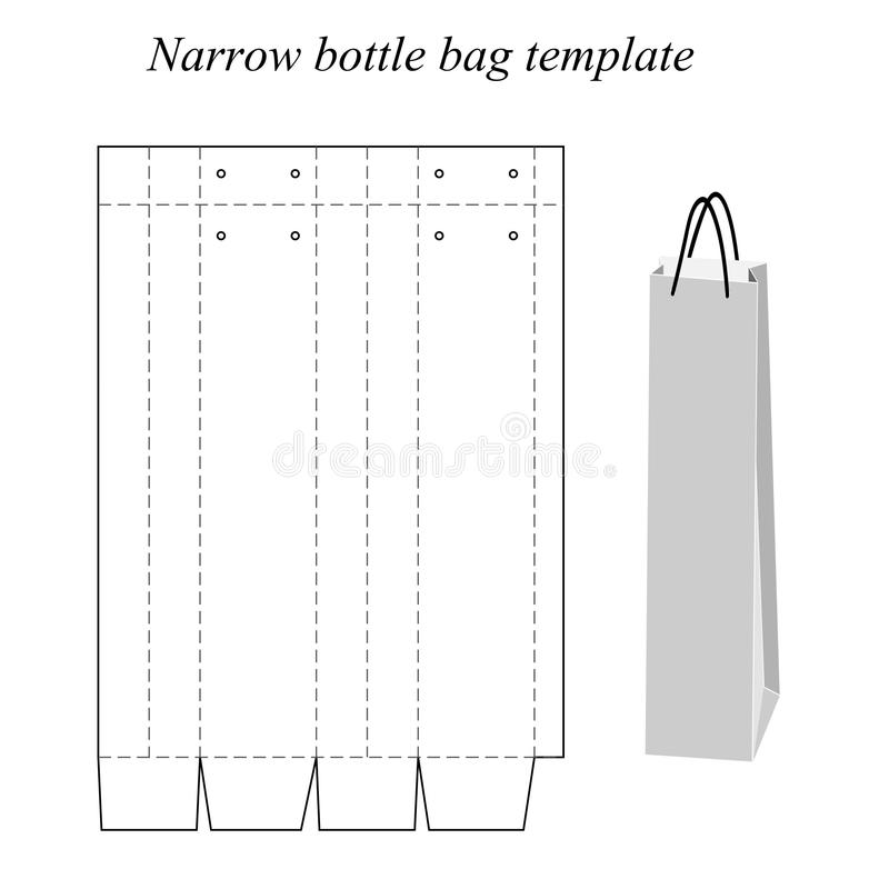 狭窄的瓶袋子模板,传染媒介,隔绝在白色背景 皇族释放例证