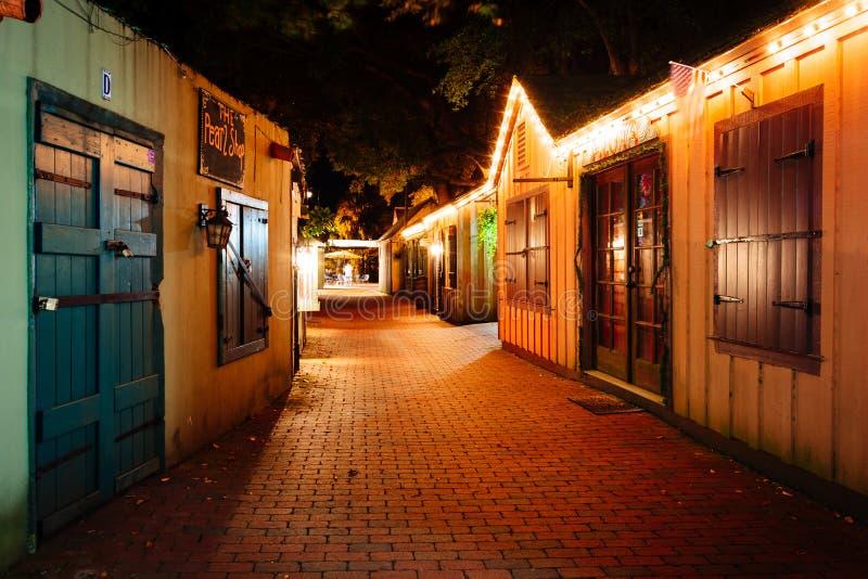 狭窄的砖胡同在晚上,在圣奥斯丁,佛罗里达 图库摄影
