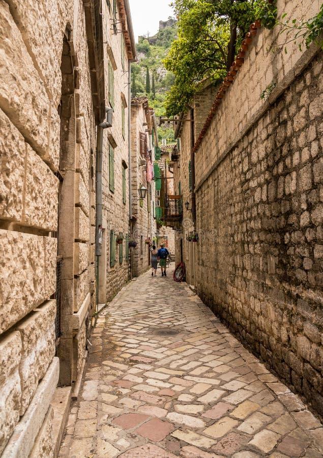 狭窄的街道在老镇科托尔在黑山 库存照片