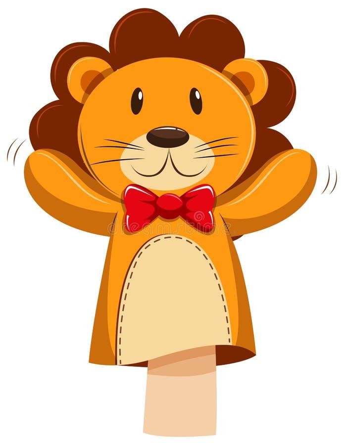 狮子与红色弓的布袋木偶 向量例证