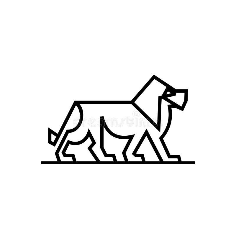 狮子与线艺术样式的商标传染媒介 在白色背景隔绝的最低纲领派典雅的象模板 皇族释放例证
