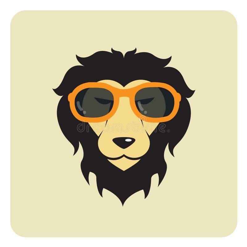 狮子佩带的玻璃的传染媒介图象 向量例证