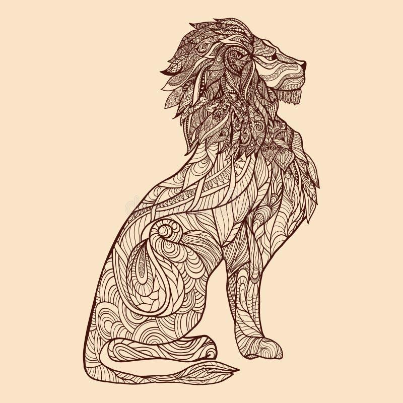 狮子剪影例证 库存例证