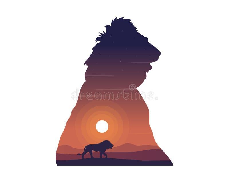 狮子剪影在小山秀丽风景的 皇族释放例证