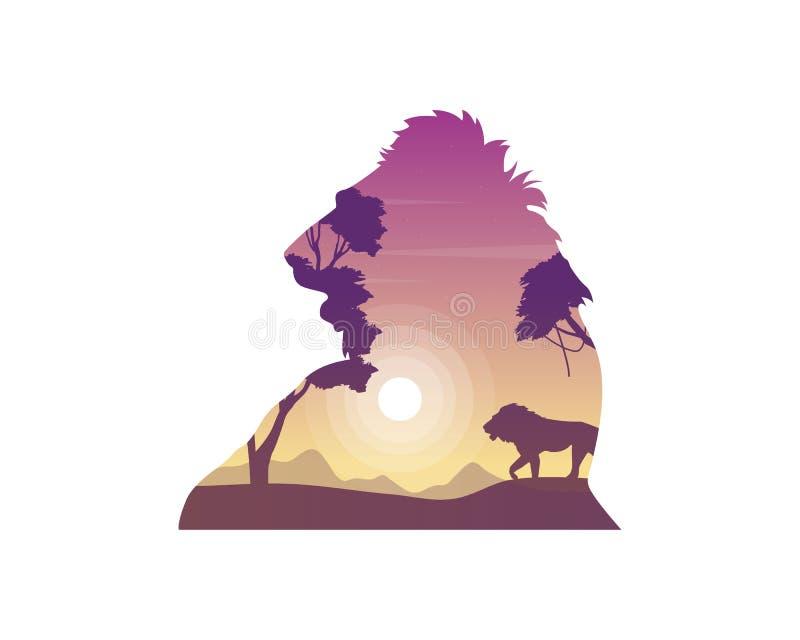 狮子剪影在小山秀丽风景的 库存例证