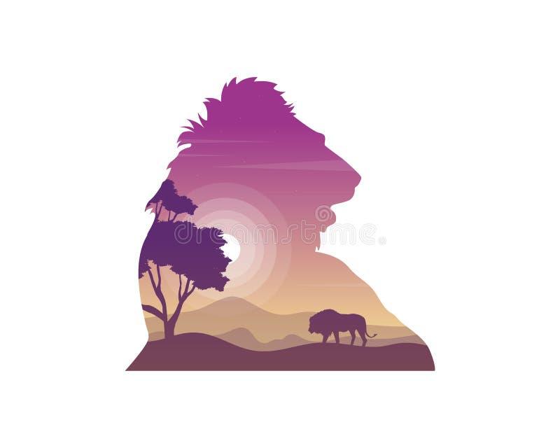 狮子剪影在小山秀丽风景的 向量例证