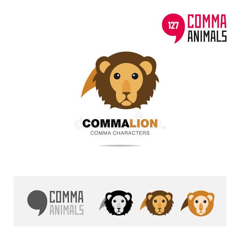 狮子动物概念象集合和现代品牌身份商标模板和根据逗号的app标志签字 向量例证
