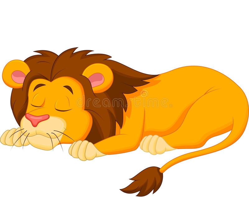 狮子动画片睡觉 皇族释放例证