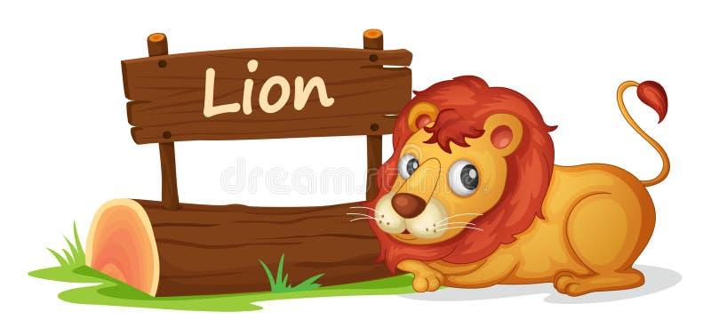 狮子和名字板极 皇族释放例证