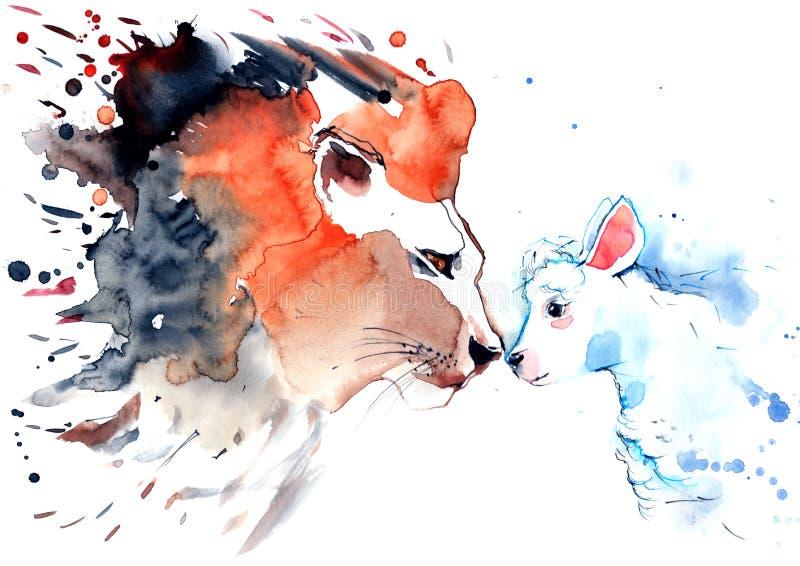 狮子和羊羔 库存例证