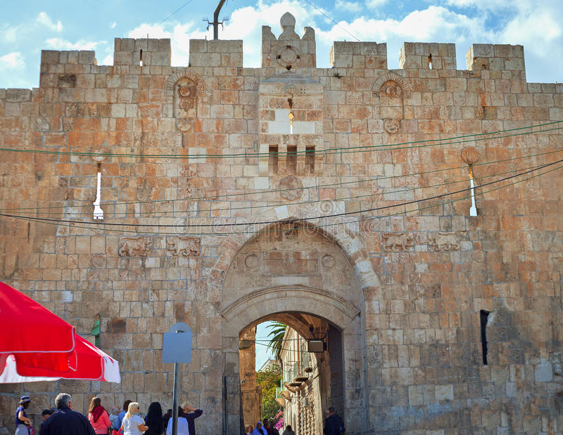 狮子在耶路撒冷装门 库存照片