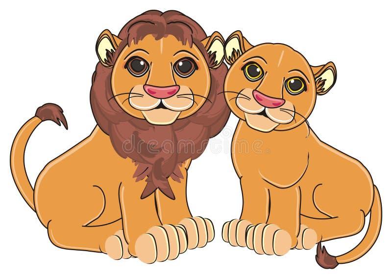 狮子夫妇 皇族释放例证
