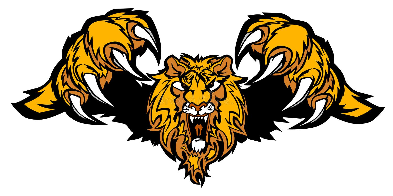 狮子徽标吉祥人突袭的向量 库存例证