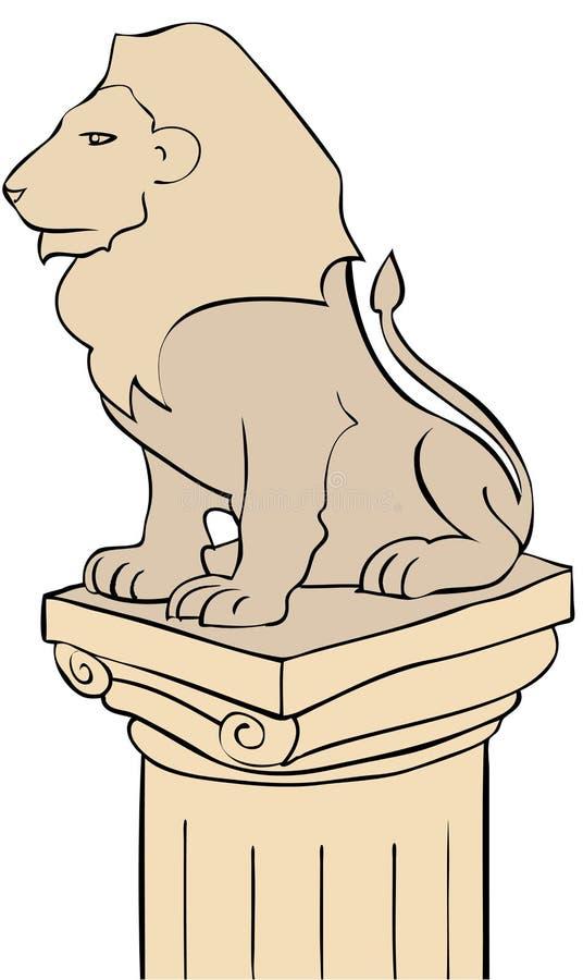 狮子柱基 向量例证