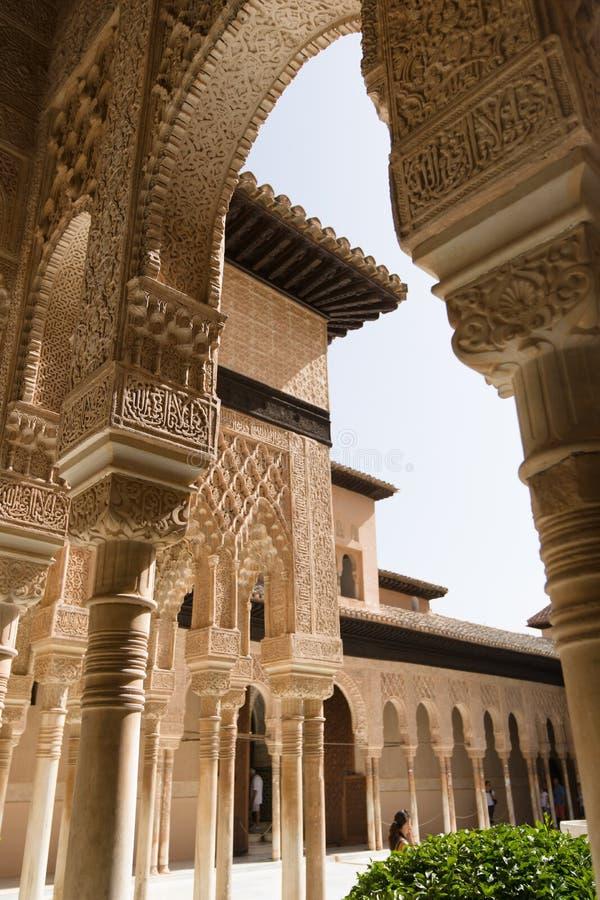 著名狮子喷泉,阿尔罕布拉宫城堡(格拉纳达,西班牙) 免版税库存照片
