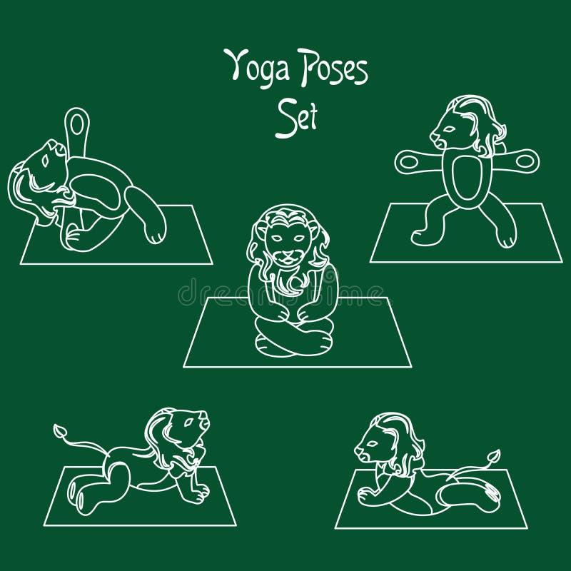 狮子瑜伽白色 向量例证