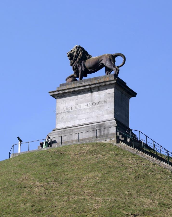 狮子的土墩的,滑铁卢,比利时访客 免版税库存图片