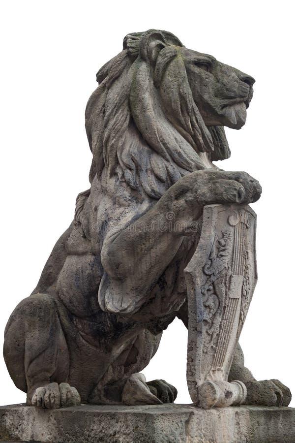 狮子的石雕象,被隔绝 库存照片