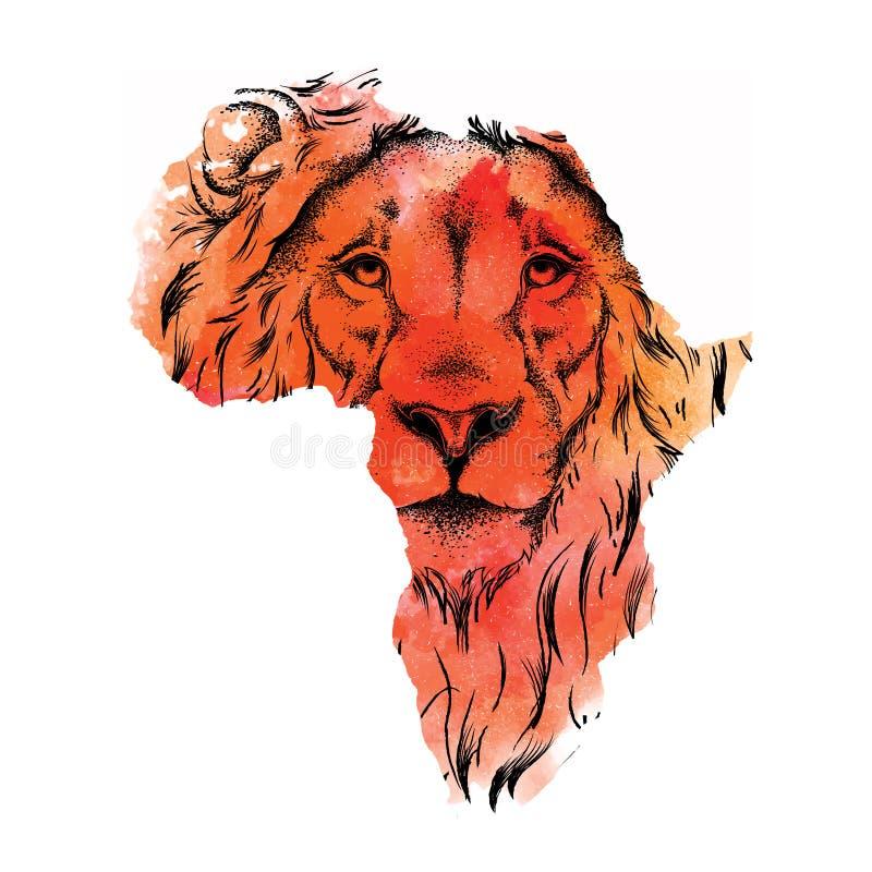 狮子种族手图画头在非洲的传染媒介地图的 也corel凹道例证向量 与水彩污点的抽象背景 皇族释放例证