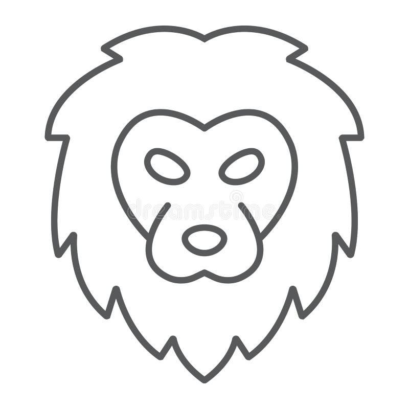 狮子稀薄的线象,动物和动物园,猫标志 库存例证