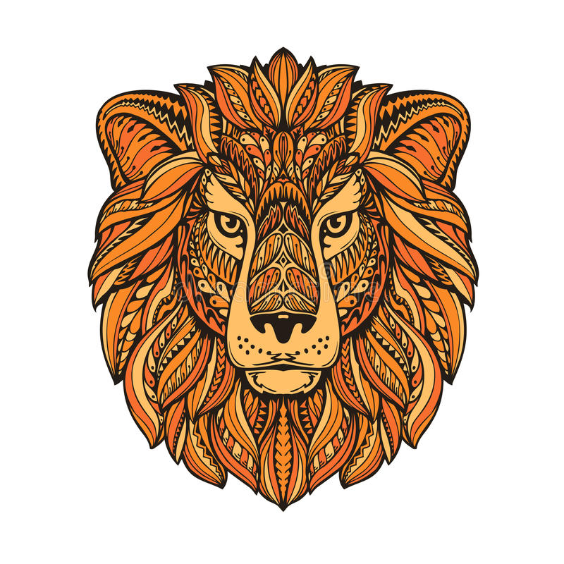 狮子被绘的部族种族装饰品 与花卉元素的手拉的传染媒介例证 库存例证
