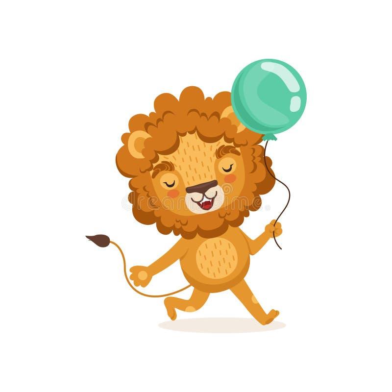 狮子走与在爪子的蓝色气球的漫画人物的例证 T恤杉的可爱的五颜六色的儿童印刷品或 向量例证