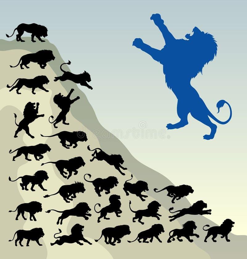 狮子连续剪影 皇族释放例证