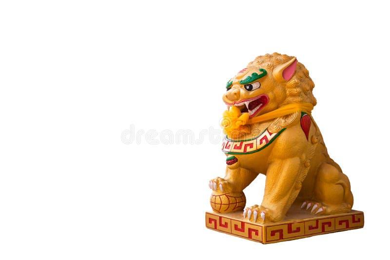 狮子雕象由膏药和油漆金子制成中国peo 库存图片