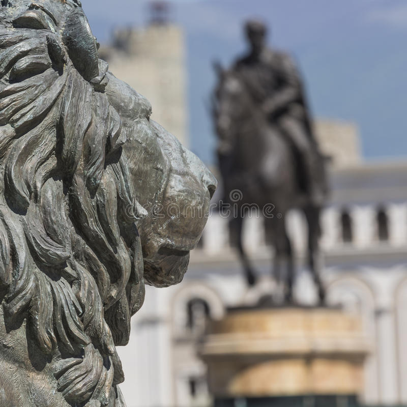 狮子雕象,斯科普里,马其顿 库存图片