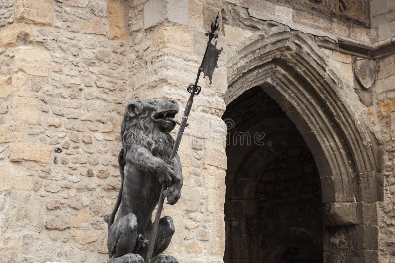 狮子雕象,Bargate,南安普敦 库存图片