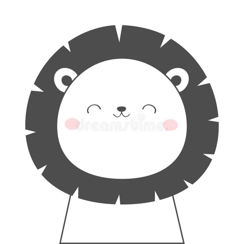 狮子面孔顶头剪影线象 Kawaii?? 逗人喜爱的卡通人物 有眼睛的滑稽的婴孩,鼻子,耳朵 孩子打印 ? 向量例证