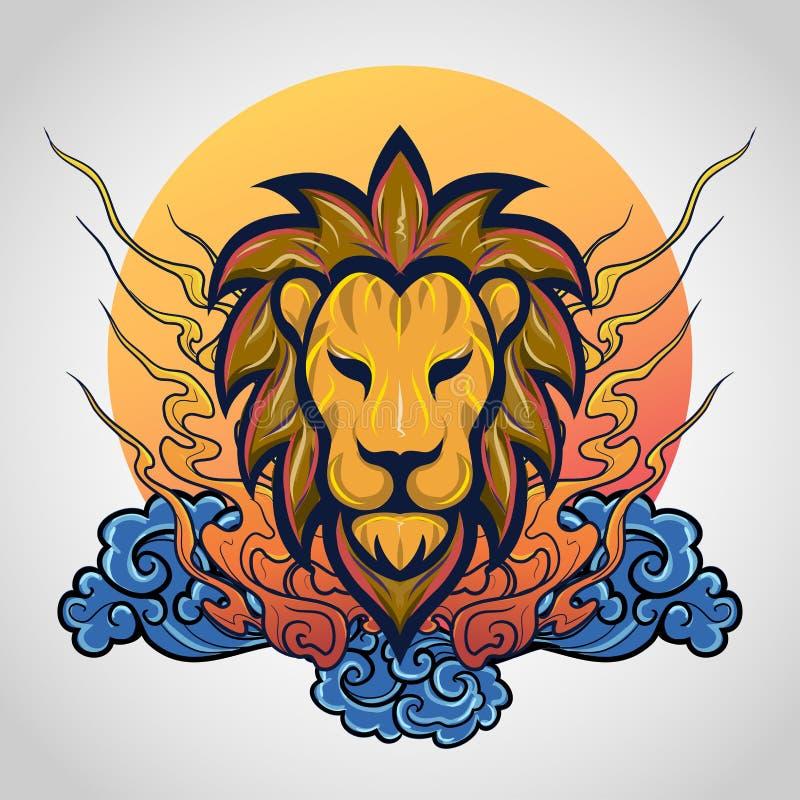 狮子顶头纹身花刺商标象设计,传染媒介 免版税图库摄影