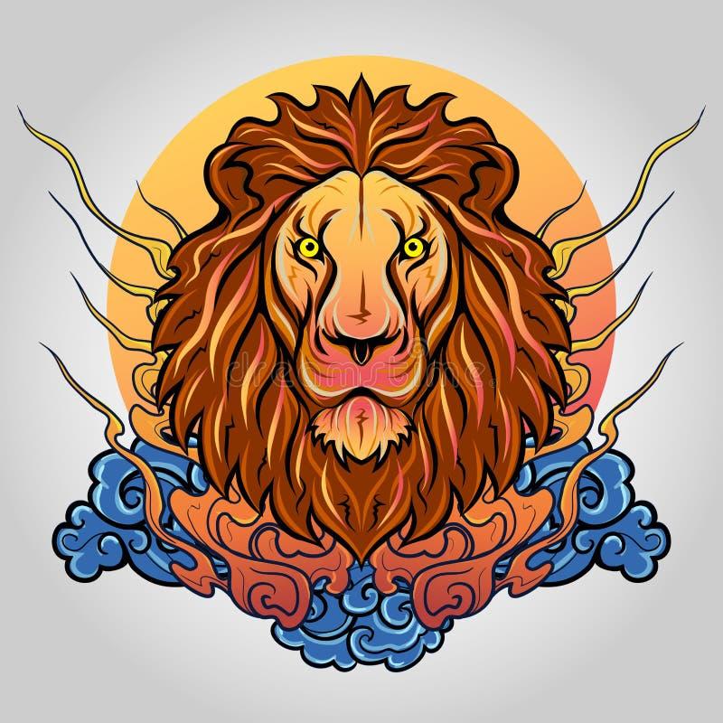 狮子顶头象商标 10个背景设计eps技术向量 免版税库存照片