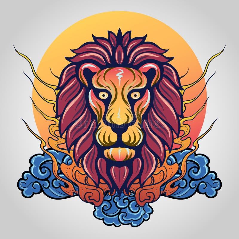 狮子顶头象商标 向量 免版税库存图片