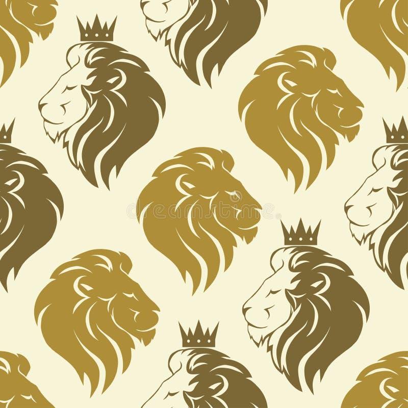 狮子顶头无缝的样式 皇族释放例证
