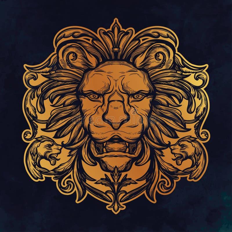 狮子题头 查出的向量例证 皇族释放例证