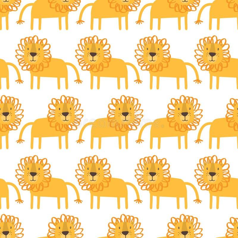 狮子,装饰逗人喜爱的背景 与愉快的动物的五颜六色的无缝的样式 库存例证