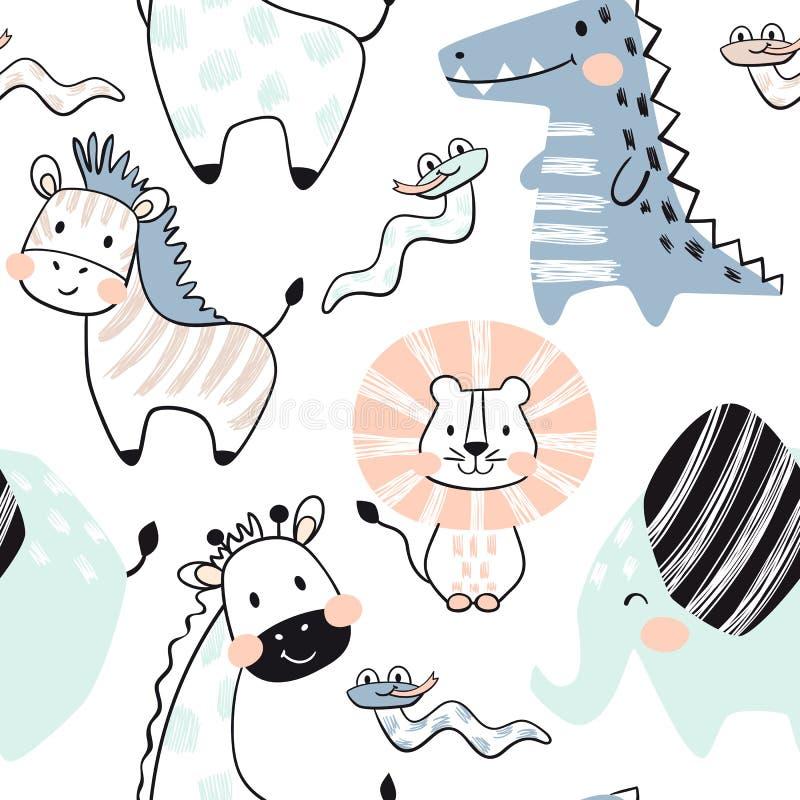 狮子,长颈鹿,大象,鳄鱼,斑马,蛇婴孩无缝的样式 斯堪的纳维亚逗人喜爱的印刷品 库存例证